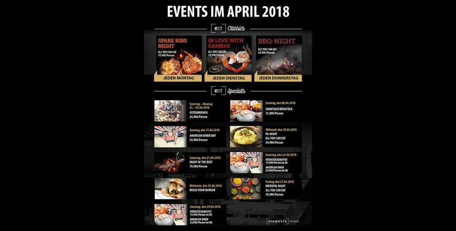 Events im April im Elements of Taste