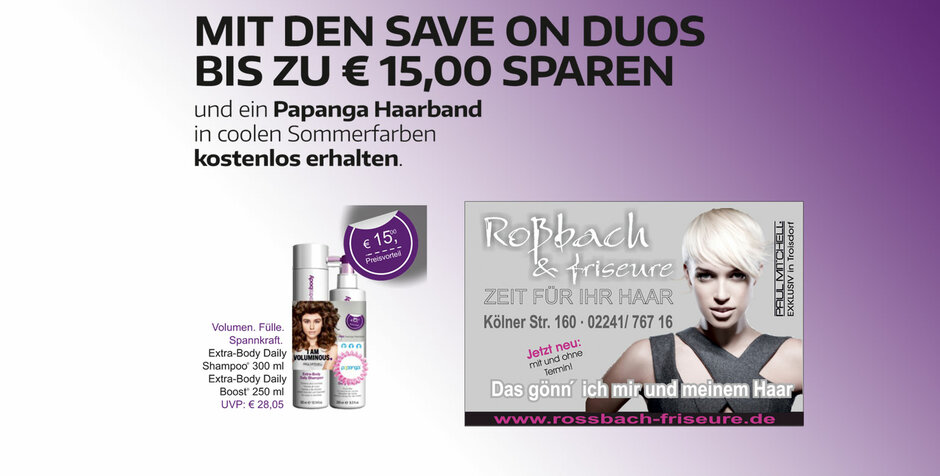 Paul Mitchell Duo-Aktion bei Roßbach Friseure