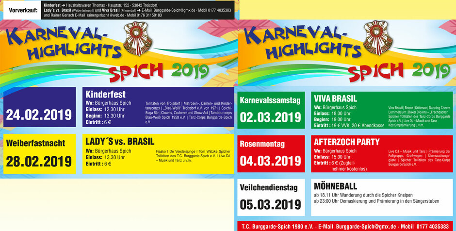 Karnevals-Highlights in Spich 2019